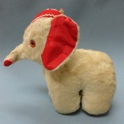 How Old Is This GUND Circus  Elephant?   - stuffed elephant with red inner ears and rick rack trimmed red head piece