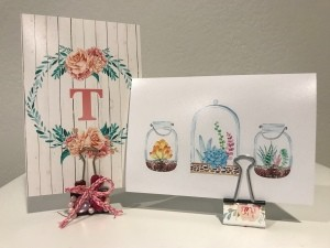 Binder Clip Photo Holder - both clips holding cards for display