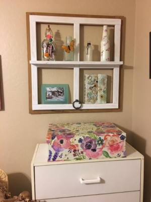 Faux Antique Window Shelf - window frame shelf with decor pieces