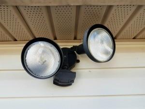 A motion sensor light outside.