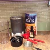 Ingredients for making oat milk.