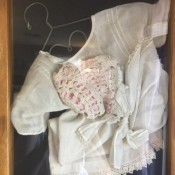 Shadowbox Displays - antique baby dress and bonnet in shadowbox