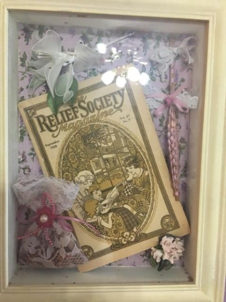 Shadowbox Displays - old magazine with ribbons and flowers