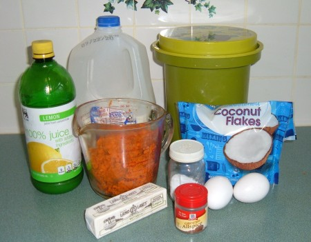 Ingredients for grated sweet potato pudding.