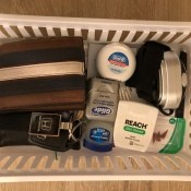 A storage basket filled with useful items.