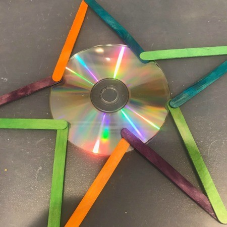 Hanging CD Reflective Star Room Decor - check fit the stick layout for the star