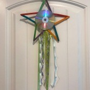 Hanging CD Reflective Star Room Decor - star decoration hanging on an over the door hook