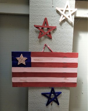 Wooden Stick Flag and Stars