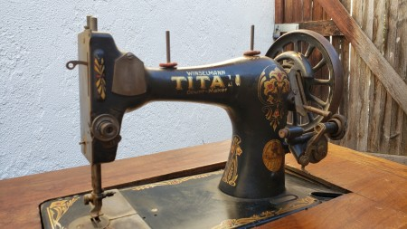 An old treadle sewing machine.