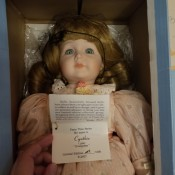 A doll with the original label.