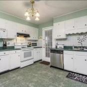 Kitchen Wall and Cabinet Paint Color Advice? - kitchen with white cabinets and green countertops