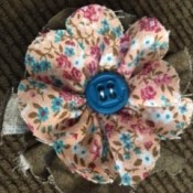 Scrappy Fun Fabric Flowers - sew the button through all layers