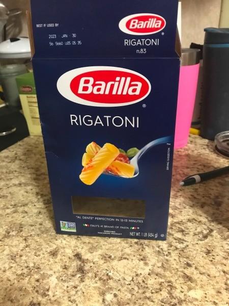A box of rigatoni