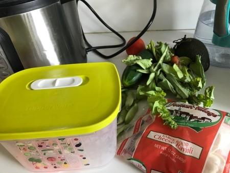 Ingredients for tortellini salad.