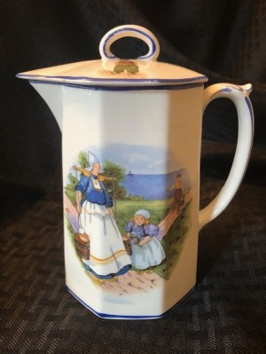 Identifying a Homer Laughlin Pitcher? - white lidded pitcher with woman and child wearing traditional Dutch caps