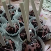 A plate of decorated cake pops.
