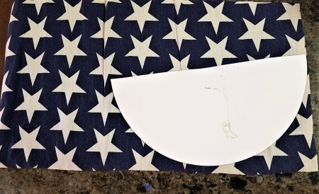 Pizza Pan Flag Wall Hanging - peeled sticker from pan to use as a template