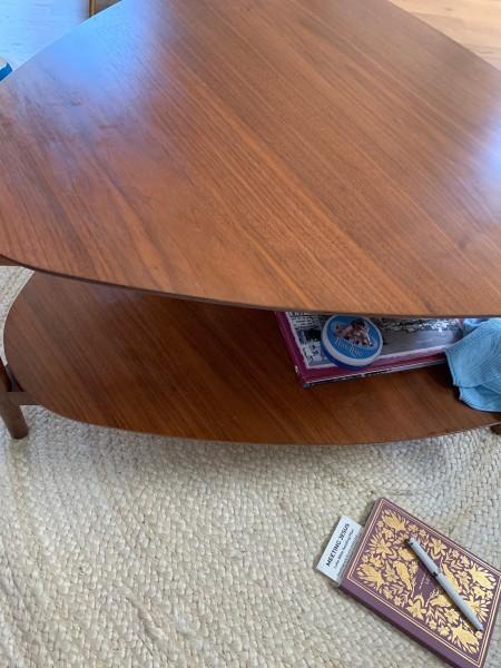 Greasy streaks on wood coffee table