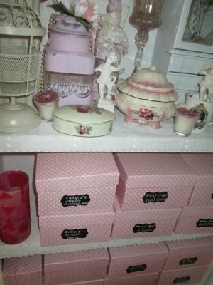 Organized craft supplies in a closet.
