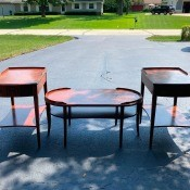 Value of Mersman Tables 7233 and 7303? - coffee table and two end tables in a driveway