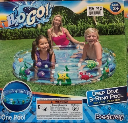 A blow up pool in packaging.