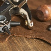 A collection of leatherworking tools.