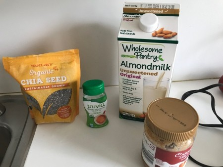 Ingredients for chia seed pudding.