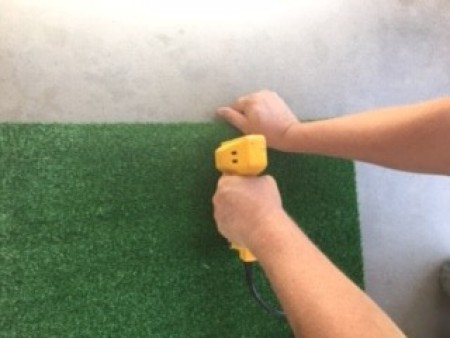 Outdoor Doggie Commode - stapling faux turf to the frame