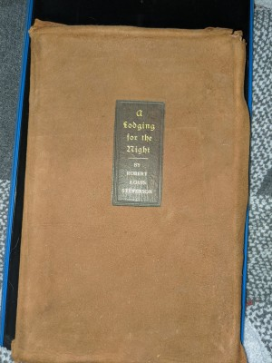 Value of a Book by Robert Lewis Stevenson? - closed book with tan leather cover