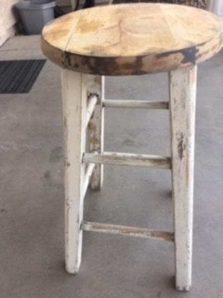 Distressed Finish Stool - sanded stool