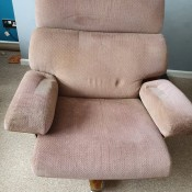 Value of a Vintage Chair? - upholstered roll around chair with bent wood frame behind back and under the seat