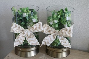 Decor for Less Using Hurricane Vases - finished vases both with bows