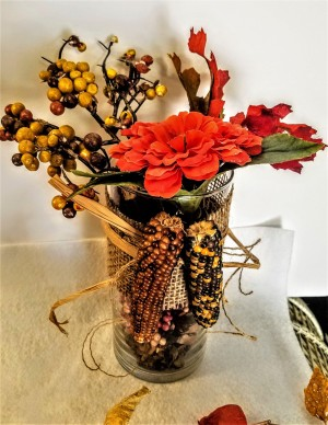 Fall Themed Glass Tube - finished decoration