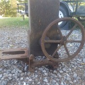 A piece of equipment with a spoked wheel.