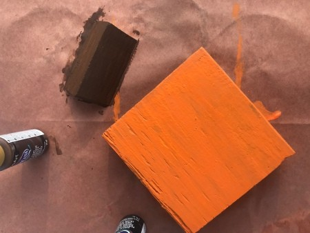 Wood Scrap Pumpkins - painted square and stem