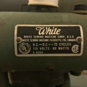 The label on a White sewing machine.
