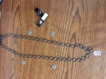 Mask Chain Holder - laying out charms
