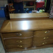 Age of a Bassett Dresser? - dresser with unframed mirror