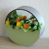 Circle Faux Flower Planter - view of the finished faux planter from a slight angle