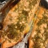 The baked salmon filets.