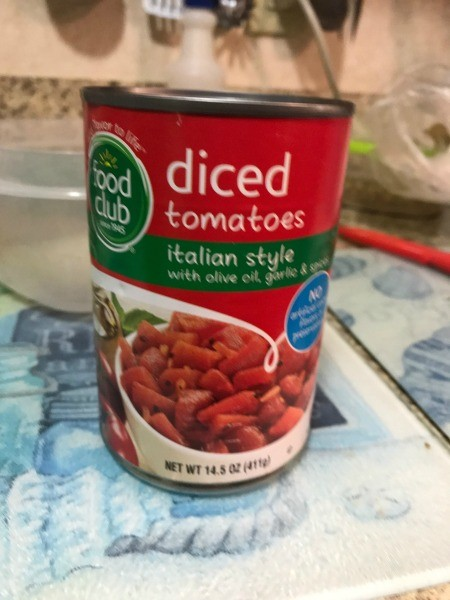 A can of diced tomatoes.