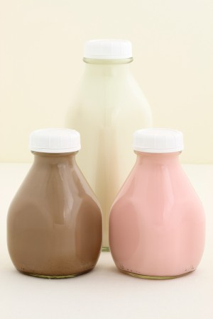 Flavored milk in bottles.