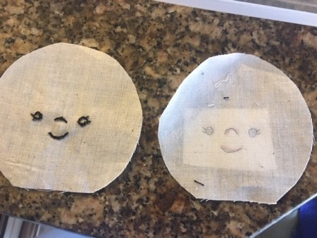Scrappy Funky Doll - tracing face onto the muslin