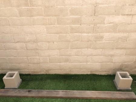 Making a low shelf on concrete blocks.