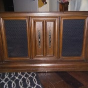 A vintage Penncrest console stereo.