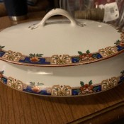 A covered serving dish by Homer Laughlin.
