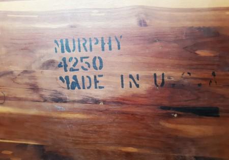 The marking inside a Murphy hope chest.