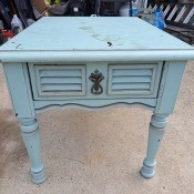 Value of a Mersman End Table? - table painted blue