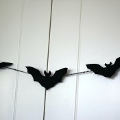 Simple Bat Garland/Bat Wall Decorations - closeup of the garland on the closet doors