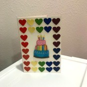 Rainbow Happy Birthday Card - new finished front layout with the cake in the center